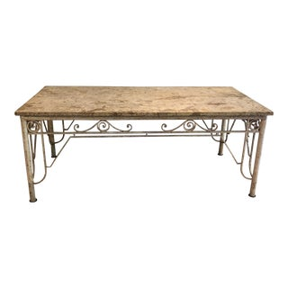 Antique Marble Top Library Table For Sale