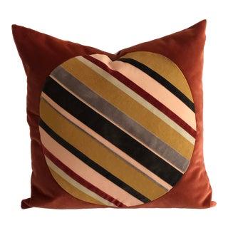 Boho Chic Red Circle Stripes Velvet Pillow For Sale