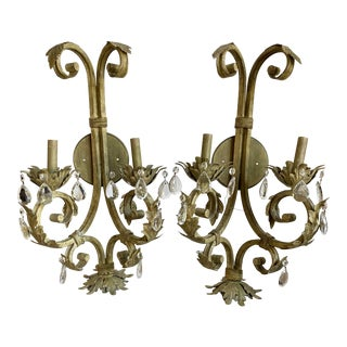 Italian Tole & Crystal Sconces, Pair For Sale