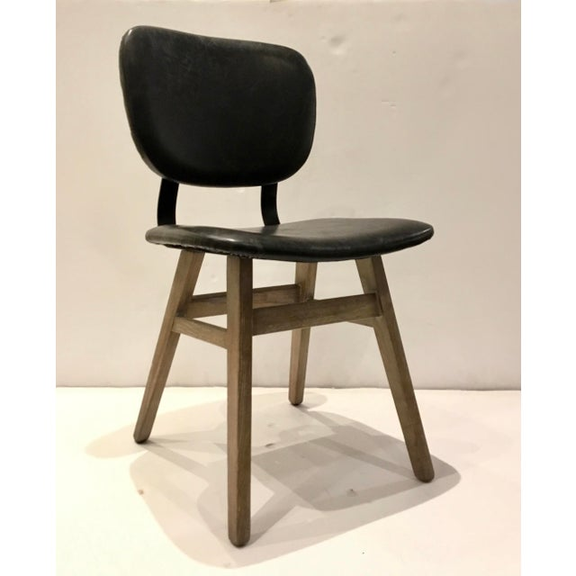 Metal Industrial Modern Black Faux Leather Side Chair/Desk Chair For Sale - Image 7 of 7