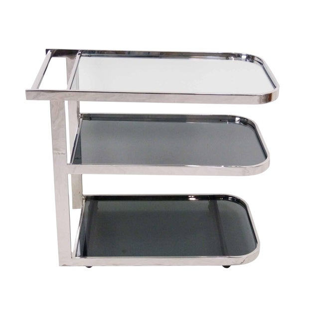 Streamlined 1980s Chrome Flat Bar Tea Cart For Sale