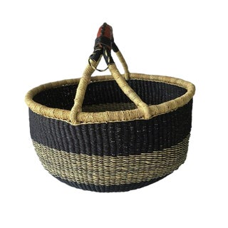 African Bolga Ghana Woven Navy and Blue Basket