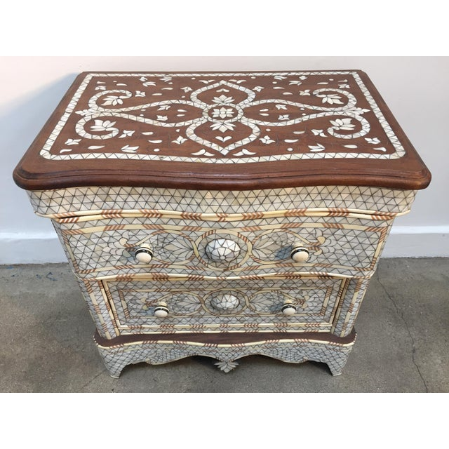 Syrian Middle Eastern White Mother-Of-Pearl Inlay Wedding Dresser For Sale - Image 12 of 12