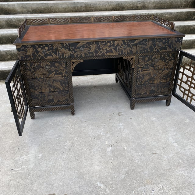 Wood Drexel Heritage Mandalay Chinoiserie Desk For Sale - Image 7 of 13