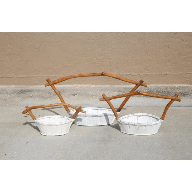 Live Edge Pagoda Top Nesting Baskets - Set of 3 For Sale - Image 10 of 10