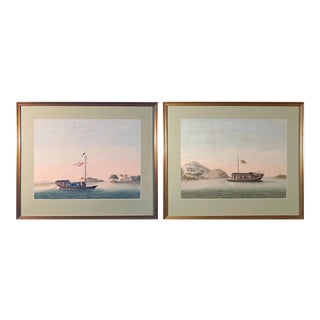 1800 Chinese Export Watercolors of Chinese Sampans on European Paper - a Pair For Sale