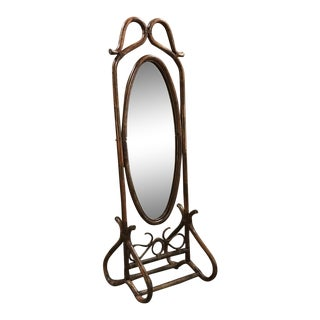 Mid-Century French Bentwood and Rattan Floor Mirror For Sale