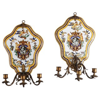 Pair of Majolica School Hand-Painted Faience Pottery Candle Wall Sconces by Gien For Sale