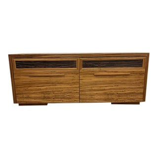 Custom Zebra Wood Entertainment Console For Sale