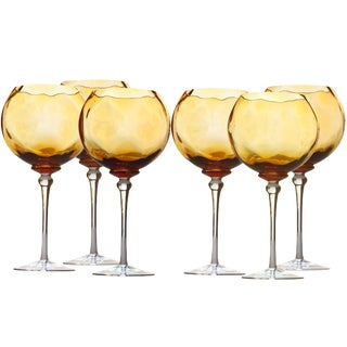 1980s Vintage Amber Bubble Hand Blown Wine Glass- Set of 6 For Sale