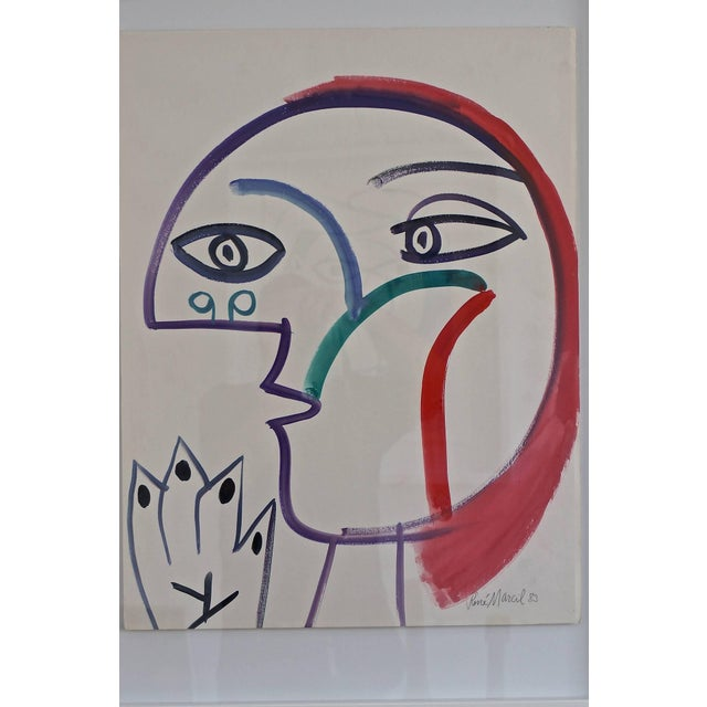 This painting depicting a profile of a female with red hair is a gouace on paper by Rene Marcil (b. 1917-1993). It is...