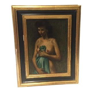 Raphael Soyer Framed Nude Oil Painting