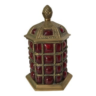 Caged Glass and Brass Jar For Sale
