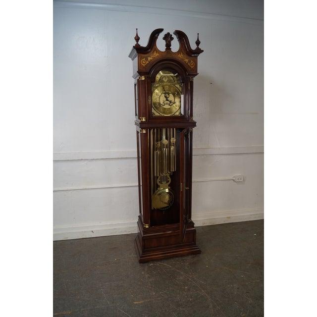 Brown Charles Sligh Mahogany Inlaid 9 Tube Grandfather Clock For Sale - Image 8 of 10