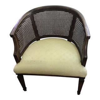 1950s Boho Chic Cane Yellow Upholstered Walnut Armchair