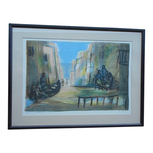 Vintage Signed Ltd. Ed. Color Lithograph-French-Artist's Proof-Scene In Seaside Town For Sale