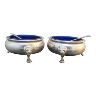Sterling Silver Amston 415 Lion Feet Open Salt Bowls with Cobalt Liners and Spoons - a Pair For Sale