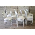 20th Century Painted and Upholstered Louis XVI Dining Chairs - Set of 8 - Image 5 of 5