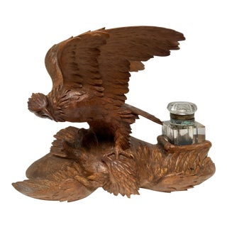 Black Forest Carved Wood Double Eagle Inkwell For Sale