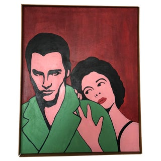 Large Format 1960s Pop Art Oil on Canvas Cat on a Hot Tin Roof Oil Elizabeth Taylor Paul Newman For Sale