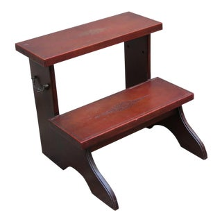 Leather Covered Mahogany Stair Step Stool, High Bed Step Stool For Sale