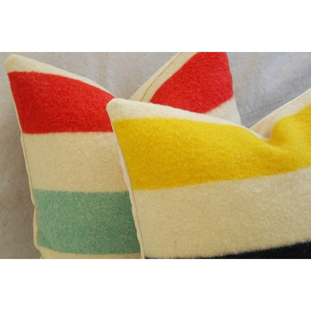 Multi-Striped Hudson's Bay Blanket Pillows - Pair - Image 9 of 11