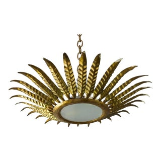 Spanish Gilt Metal Sunburst Ceiling Fixture With Leaf Decoration For Sale