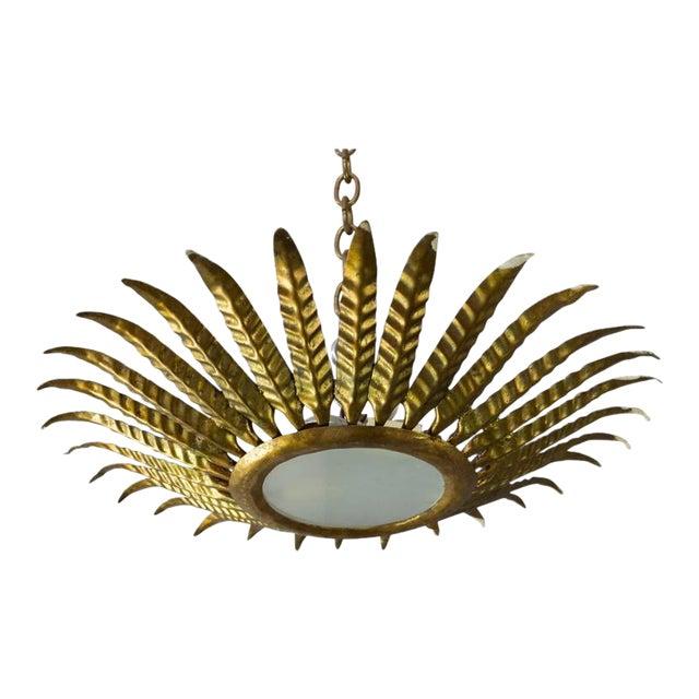 Spanish Gilt Metal Sunburst Ceiling Fixture With Leaf Decoration For Sale