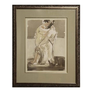 """1999 """"Seated Lovers"""" Abstract Figurative Watercolor Painting by Barnaby Fitzgerald, Framed For Sale"""