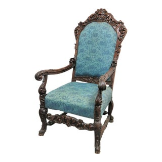 Late 19th Century Vintage Victorian Carved Walnut Throne Chair For Sale