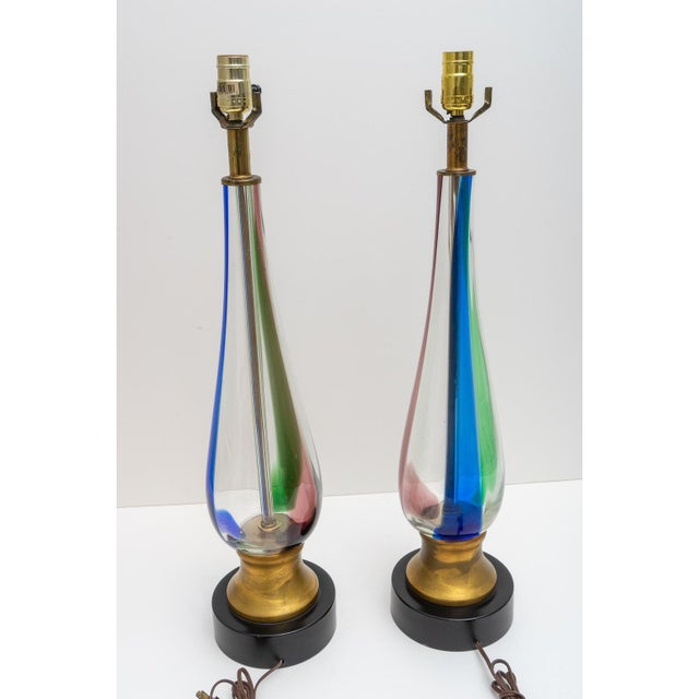 Mid-Century Modern Vintage Murano Glass Table Lamps - Blue Pink Green Stripes - a Pair For Sale - Image 3 of 8