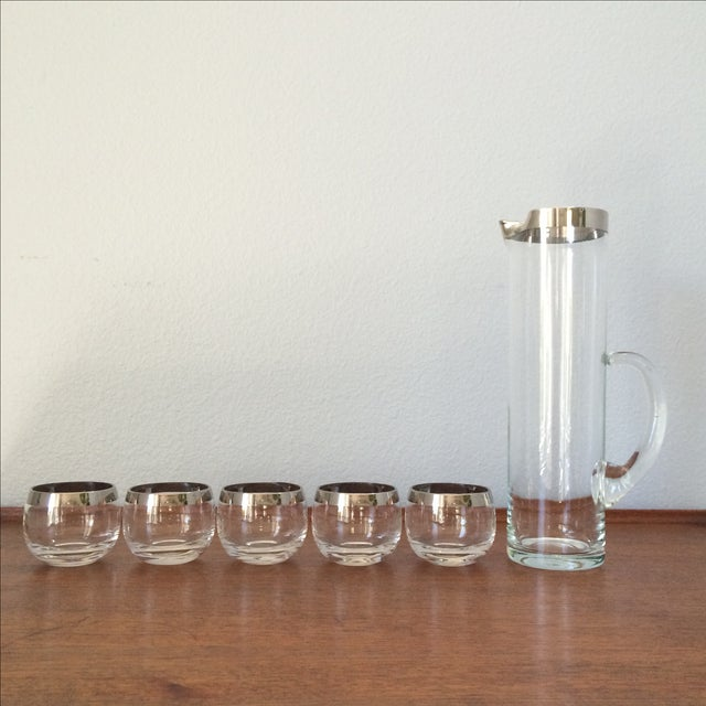 Mid-Century Silver Cocktail Pitcher & Five Glasses - Image 9 of 9