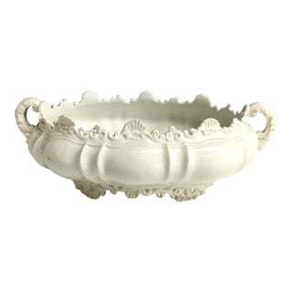 Italian Pottery Shell & Feather Footed Oval Console Bowl
