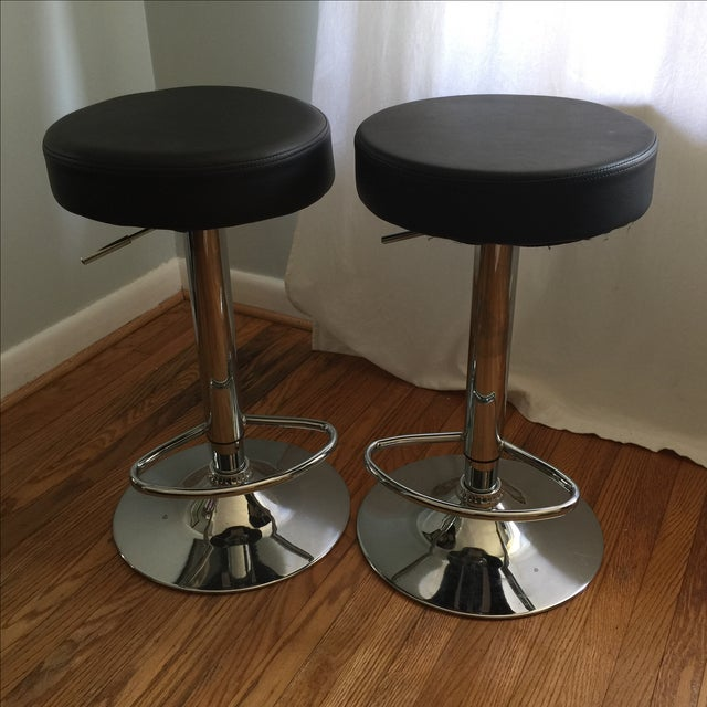 Leather & Chrome Adjustable Bar Stools - A Pair - Image 2 of 6