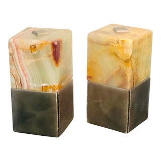 1970s Mark Cross Onyx and Leather Book Ends by Mark Cross - a Pair For Sale