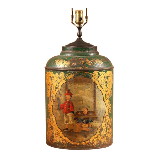 Green Tole Tea Canister with Chinoiserie Scene For Sale