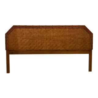Woven Rattan and Faux Bamboo King Headboard For Sale