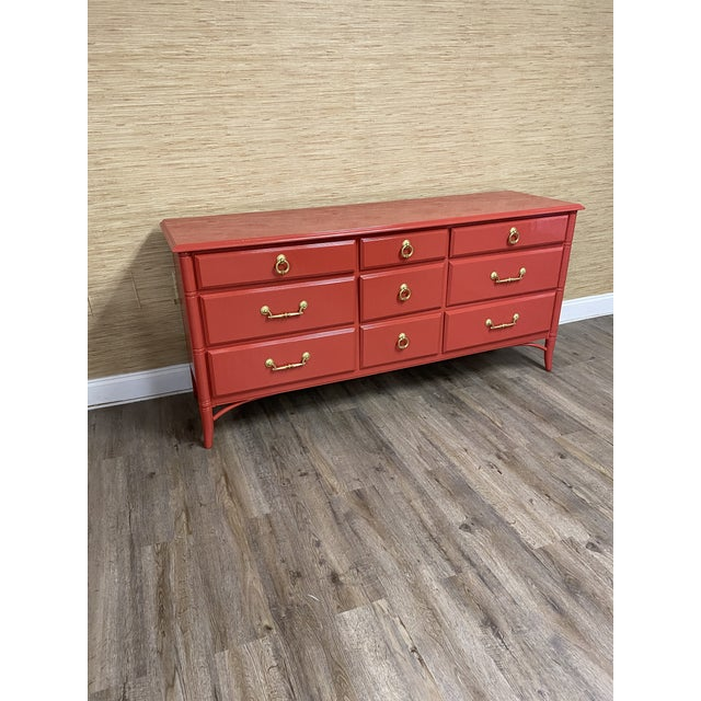 Vintage Thomasville Furniture Company transitional faux bamboo credenza with 9 drawers professionally lacquered Ben Moore...