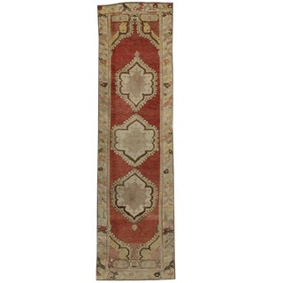 Vintage Turkish Oushak Carpet Runner With Traditional Style, 03'02 X 11'07