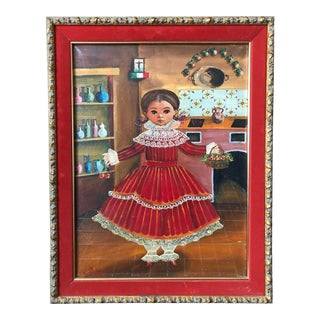 1960s Mexican Folk Art Portrait Painting by Agapito Labios, Framed For Sale