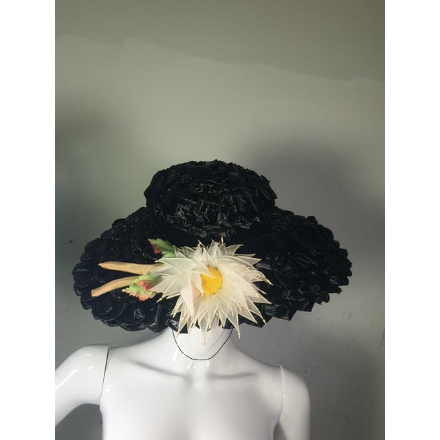 Distinguished 1940s Vintage Great Black Ribbon Hat With Amazing
