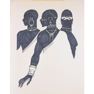Unknown 1970s Drawing of Three Figures in Ink 1970 For Sale