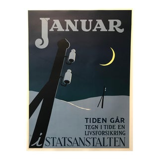 1951 Original Danish Poster, Januar (The Clock Is Ticking) For Sale