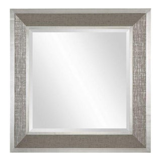 Silver Linen Framed Square Wall Mirror
