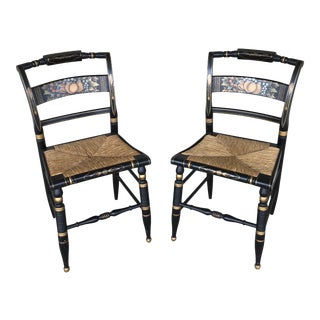 Authentic Hitchcock by Lock Rush Bottom Black Harvest Side Chairs - a Pair For Sale