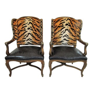 Boho Chic Ralph Lauren Leopard Print Accent Side Chairs - a Pair For Sale