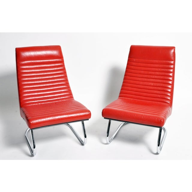 "1970s ""Tulip Red"" Lounge Chairs - a Pair For Sale - Image 13 of 13"