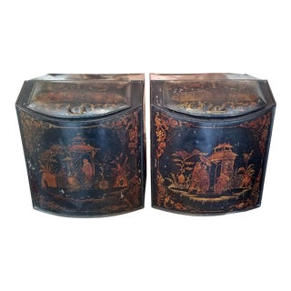 Pair of 19c American Henry Troemner Philadephia Pa Chinoiserie Tea Bins For Sale