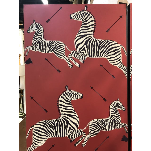 A pair of Wall Mounted Scalamandre Zebra Wallpaper Panels. One of the most iconic prints in wallpaper still today! These...