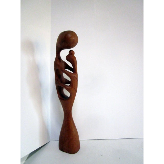 Modern Abstract Wood Sculpture - Mother & Child - Image 5 of 8